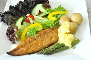 Обои Вторые блюда Рыба Картофель Овощи Еда картинки
