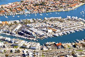 Обои Дома Причалы Яхта США Сверху Newport Beach Города картинки