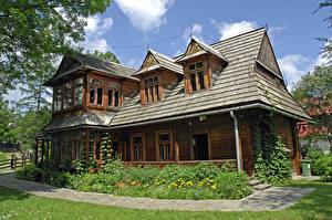 Обои Польша Дома Дизайн Деревянный Zakopane Города картинки