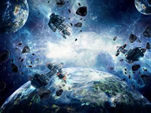 Обои Корабли Астероиды Планеты Космос фото
