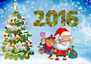 Обои Праздники Новый год Обезьяны Елка Дед Мороз Животные фото