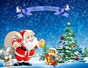 Обои Новый год Обезьяны Праздники Шапки Елка Дед Мороз Животные фото