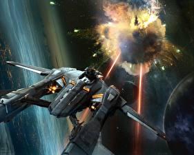 Обои Корабли Star Citizen Выстрел Игры Фэнтези Космос фото