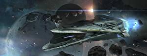 Обои Корабли Астероиды Планеты Star Citizen Игры Фэнтези Космос фото