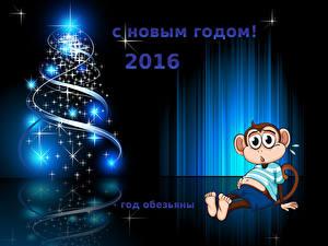 Обои Новый год Обезьяны 2016 Елка Животные фото