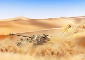 Обои Танки Рисованные Пустыни Песок Hellcat Армия фото