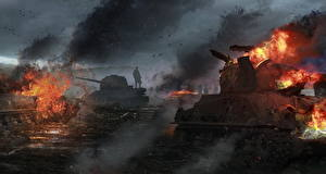 Обои Танки Рисованные Огонь T-34-85, M4 Sherman Армия фото