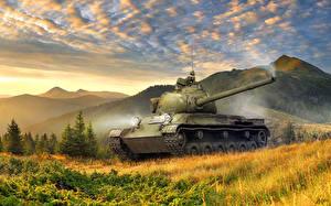 Обои Танки Рисованные Горы Небо Трава ЛТТБ Армия Природа фото