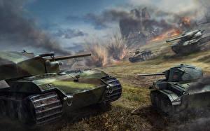 Обои World of Tanks Танки Xbox 360 Edition Wargaming Net T57 Heavy Tank Игры Армия фото