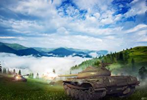 Обои Танки Рисованные Небо Облака T-54 Армия фото