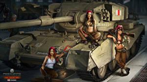 Обои World of Tanks Танки Трое 3 Nikita Bolyakov FV-4202 Игры Девушки фото