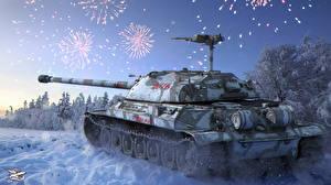 Обои World of Tanks Танки Новый год Зима Салют IS-7 Игры фото