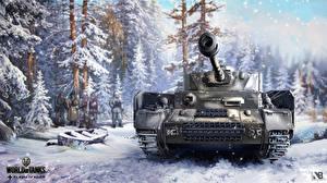 Обои World of Tanks Танки Зима Nikita Bolyakov Pz.Kpfw.IV Ausf.H Игры фото