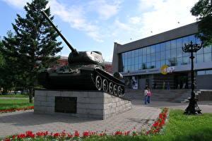 Обои Россия Танки Памятники T-34-85, Barnaul Города фото