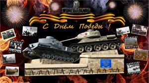 Обои World of Tanks Танки День защитника Отечества T-34-85 vs Pz.Kpfw. IV Игры фото