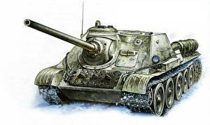 Обои Танки Рисованные SU-85 Армия фото