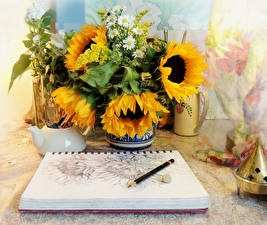 Обои Подсолнухи Натюрморт Цветы фото