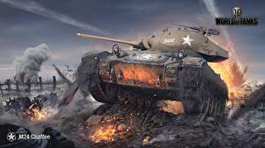 Обои World of Tanks Танки Nikita Bolyakov M24 Chaffee Игры фото