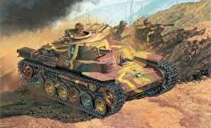 Обои Танки Рисованные Type 97 CHI-HA Армия фото