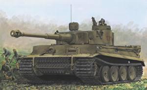 Обои Танки Рисованные Tiger I 131 s.Pz. Tunisia Армия фото