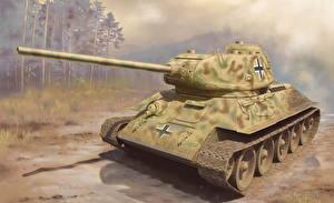 Обои Танки Рисованные Panzerkampfwagen T-34-85 Армия фото