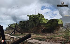 Обои World of Tanks Танки Рисованные Mk.IV «Churchill» Игры фото