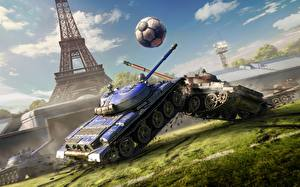 Обои World of Tanks Танки Эйфелева башня Мяч Игры фото