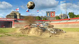 Обои World of Tanks Танки Мяч Игры 3D_Графика фото