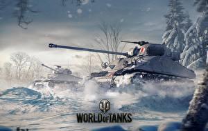 Обои World of Tanks Танки Рисованные Снег Sherman Firefly Игры фото