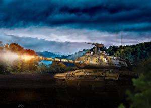 Обои World of Tanks Танки Выстрел M41 Walker Bulldog Игры 3D_Графика фото