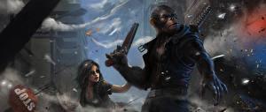 Обои Воители Обезьяны Пистолеты Фэнтези фото