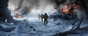 Обои Солдаты Танки Рисованные Снег Армия фото