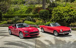 Обои Fiat Abarth Двое Кабриолет Красный 124 Spider Автомобили картинки