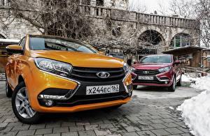 Обои Российские авто Лада Оранжевый Фары XRAY Автомобили картинки