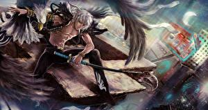 Обои Ангелы Воители Парни Сабли the hunter Фэнтези картинки