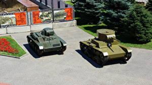 Обои Танки Россия Волгоград Panorama Museum The Battle of Stalingrad, Т-60, T-26  the sample 1933 Армия фото