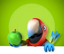 Обои Птицы Попугаи Яблоки Клюв 3D Графика картинки