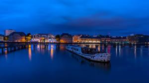 Обои Германия Берлин Дома Реки Корабли Небо Ночь Города картинки