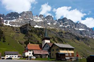 Обои Швейцария Дома Горы Urnerboden Города картинки