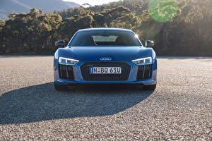 Обои Audi Спереди Синий R8 V10 Автомобили картинки