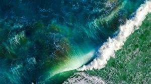 Обои Море Океан Волны Сверху iOS, apple, mac Природа картинки