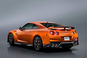 Обои Nissan Сзади Оранжевый GT-R R35 Автомобили картинки