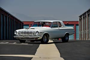 Обои Dodge Ретро Белый 1963 330 2-door Sedan Factory Lightweight Автомобили картинки
