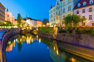 Обои Словения Дома Вечер Водный канал Ljubljana Города картинки