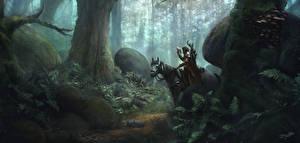 Обои Лошади Леса Воители Фэнтези картинки