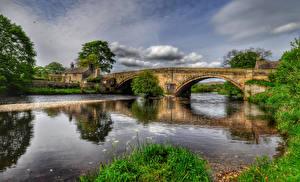 Обои Великобритания Реки Мосты Дома HDR Bolton Города картинки