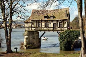 Обои Франция Дома Реки Vernon Upper Normandy Города картинки