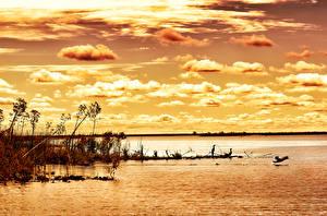 Обои Аргентина Реки Рассветы и закаты Небо Облака Природа картинки