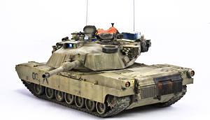 Обои Танки Белый фон M1A1 Abrams Армия фото