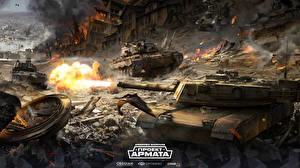 Обои Armored Warfare Танки Выстрел Игры фото